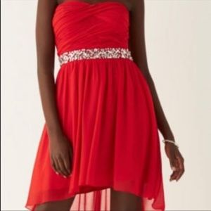 High-low strapless formal dress